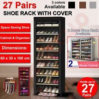 Shoe Rack Stackable Cabinet Storage Organiser Portable Wardrobe With Cover