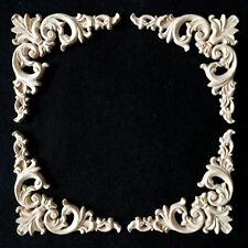 4pcs Wood Door Corner Decor Flower Carved Onlay Applique Unpainted 4.7*4.7inch