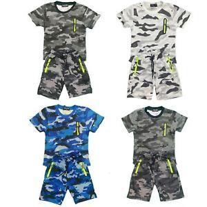 Boys Kids Camo Camouflage T-Shirt Shorts Set Sports Cotton Army Summer Gym PE