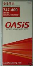 Airlines safety cards - Oasis HONG KONG Airlines