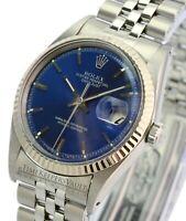 Rolex Datejust Mens 1601 Stainless Steel Blue Dial Fluted Bezel  36mm Watch