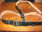 Swedish leather military pistol belt with cross strap sam browne black 120 good