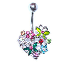 HEART FLOWERS BUTTERFLY BELLY BAR Crystal Rhinestone CZ Steel Navel Piercing