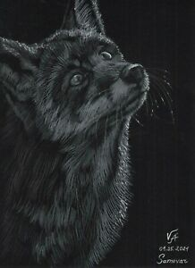 original drawing 21 x 28,5 cm 11VA art samovar Pastel Realism animal fox