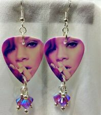 Rihanna Pink Tinted Guitar Pick Earrings with Fuchsia Crystal Dangles
