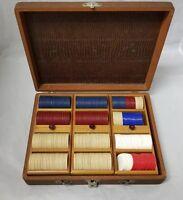 Vintage Poker Chip Case w 311 Chips, 240 Older, 71 Slighty Used, Card Game Party