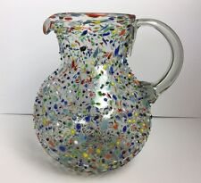 NEW MEXICAN CONFETTI WITH COLOR PEBBLES HANDBLOWN GLASS LARGE PITCHER 160oz