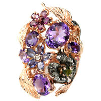 REAL AMETHYST, RHODOLITE, CHROME DIOPSIDE & IOLITE STERLING 925 SILVER RING 8.25