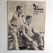 Patons Knitting Book No 193 11 Patterns for Men Including Socks Jumpers Vests
