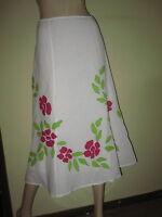 Per Una ~ Long Swirly White Linen Blend Floral Applique Skirt ~ Size 14