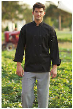 Black Chef Coat, Plastic Buttons, Long Sleeve, Size: 3Xl - 402