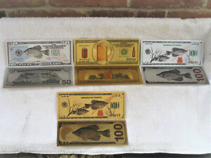 4 Crappie Beer Banknotes Fishing Silver Gold Hunting Antlers Tails Hides Tines