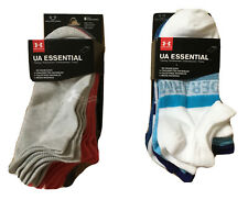 UNDER ARMOUR No-Show 6-Pair Essential Training, Heather/ASSRTD  Socks Size 6-9