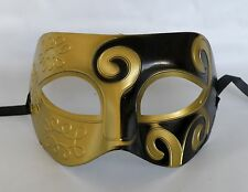 Greek / Roman / Venetian Mens Male Masquerade Party Mask - Black & Gold *NEW*