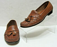 VGC COLE HAAN ITALY MENS 8D BROWN WOVEN LEATHER HUARACHES TASSEL LOAFERS SHOES