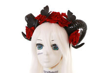 C-71-1 Butterfly Widder Devil Horns Roses Red Headband Headdress Gothic