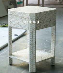 Handmade Antique Mother of Pearl White Solid Wood Nightstand Bedside Table