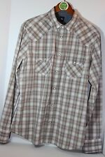 GAP Shirt Gray Pink Plaid Long Sleeve Snap Front  Flip Cuff s Denim M