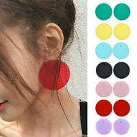 Women Acrylic Circle Round Earrings Geometric Candy Colour Jewelry Drop Earring