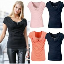 UK Summer Womens short Sleeve Cowl Neck Loose blouse Ladies Casual T-Shirt Tops