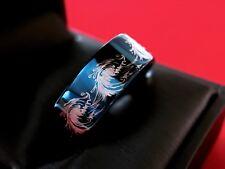 Men Tungsten Ring Wedding Band Man Engagement Ocean Wave Blue Tungsten Ring