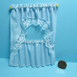 Dollhouse Miniature Kitchen Curtain Set Slate Light Blue BB52403