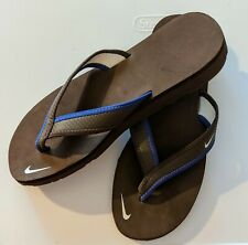 NIKE CELSO GIRL THONG BROWN/BLUE FLIP FLOPS BEACH SANDALS WATER US WOMENS SIZE 8