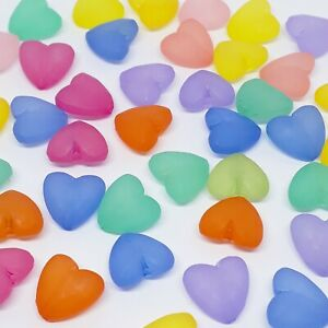 50pcs Frosted Assorted Acrylic Heart Craft Beads 12mm - B719806