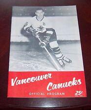 Vancouver Canucks WHL game Program 1962-63 vs Edmonton Flyers Dave Duke