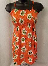 Loleee Pop NWT Girls Orange White Green Hawaiian Floral Halter Dress Size L