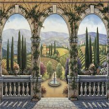 Tuscan Arches Water Fountain Image Coasters Set Of 4 Fabric Top / Rubber Backed