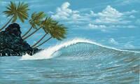 Wallpaper Mural Tropical Island Surf Ocean Wave Palm Trees Surfing Hang Ten