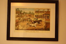 1950'S CURRIER & IVES REPRINT READY FOR THE TROT BRING UP YOUR HORSES LITHO