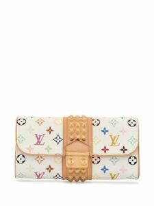 LOUIS VUITTON Courtney White Rainbow Monogram Gold Stud Leather Pochette Clutch