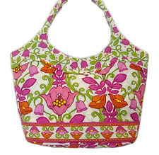 Vera Bradley Lilli Bell Retired Tote Bucket White Pink Purple Hand Bag Purse 2bf345cc6cb8f