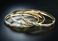 Sevil 18K 3T- Gold Plated Diamond-Cut Bangles 3 Pack Set