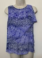 HD In Paris Anthropologie Size 4 Sleeveless Blouse Blue Ruffle Front Tank Top