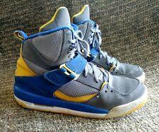 Air Jordan Flight high tops grey blue and yellow size 5.5 y