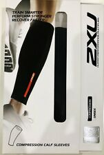 2XU Compression Unisex Calf Guards Sleeves- Black Size L