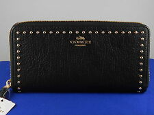 Coach Black RIVETS ACCORDION ZIP Studded Leather Clutch Wallet F54019 $280