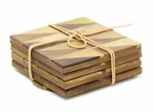 Set of 4 Rustic Geometric Wood Inlay Table Drink Coasters