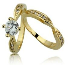 Yellow Gold Lyered Ring Set Size 6#301 Solitaire 1.40 Ct Brilliant Cz 18 Kt