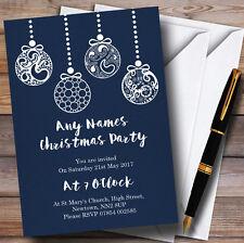 Blue Baubles Personalizado Invitaciones Fiesta De Navidad