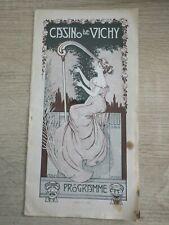 Programme CASINO DE VICHY Année 1908 cov. ART NOUVEAU dans le goût de Mucha