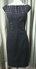 Karen Millen Black Silver Stud Cocktail Party Dress UK8 EU36