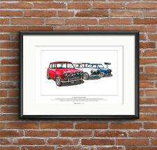 The Italian Job - Austin Mini Cooper S Mk1 - ART POSTER A2 size