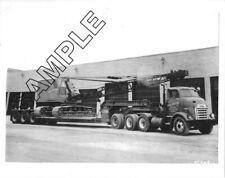 1950s GMC Canonball 4-Axle Tractor & ROGERS Lowboy w/BAY CITY Crane 8x10 Photo