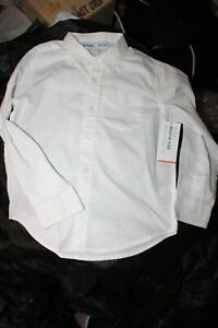 NWT OLD NAVY Boy's LS Button Up White Shirt Small 6-7 Built In Flex