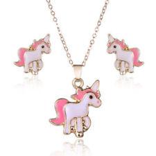 Fashion Gold Plated Pink Unicorn Shape Necklace Earrings Jewelry Set Women
