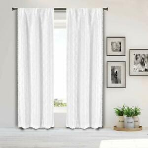 Set of Two Off-White Window Curtain Panels: Diamond design, Pole-Top, 96in Long